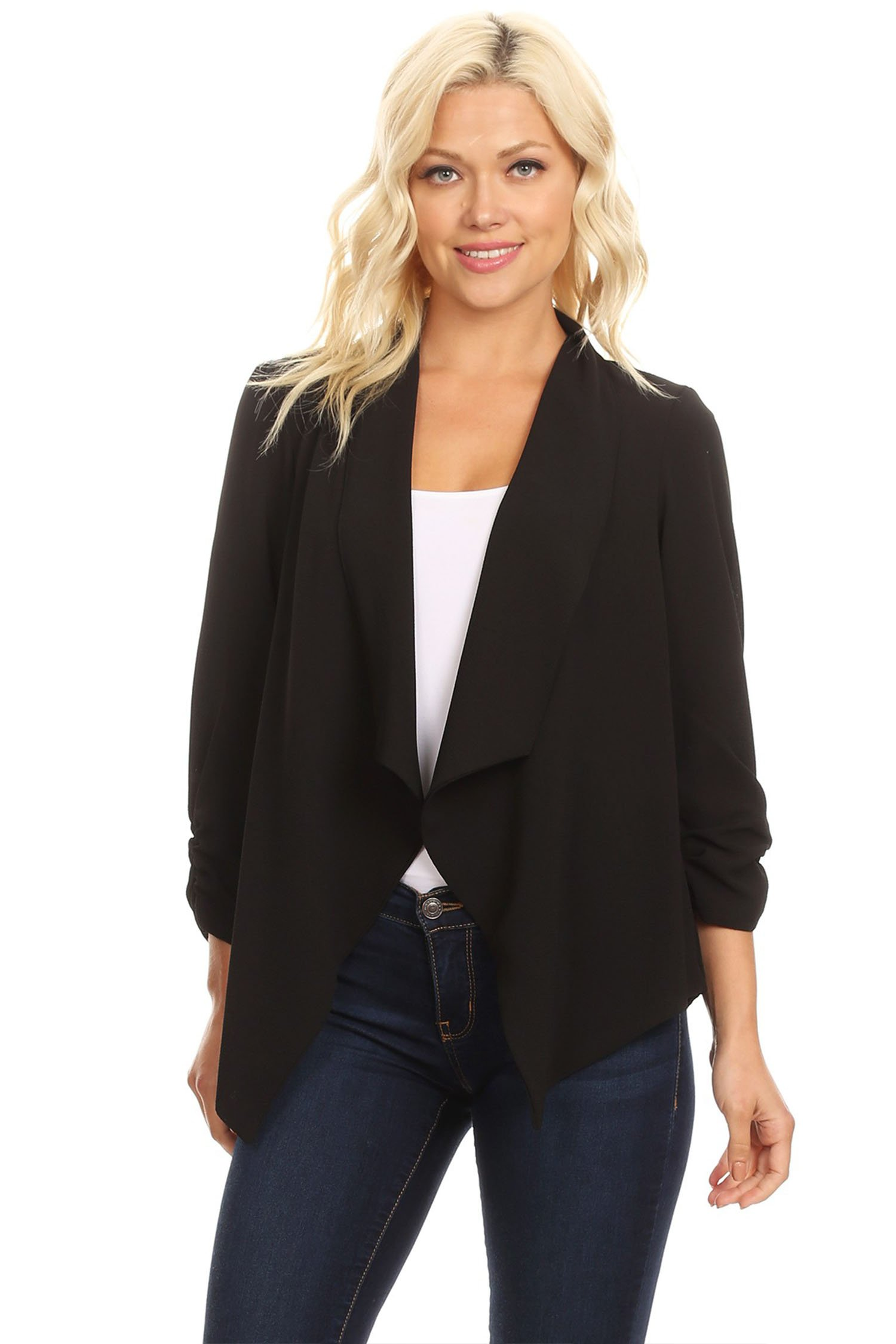 Casual Style Open Draped Ruched Sleeve Loose Cardigan/Made in USA Black 3XL
