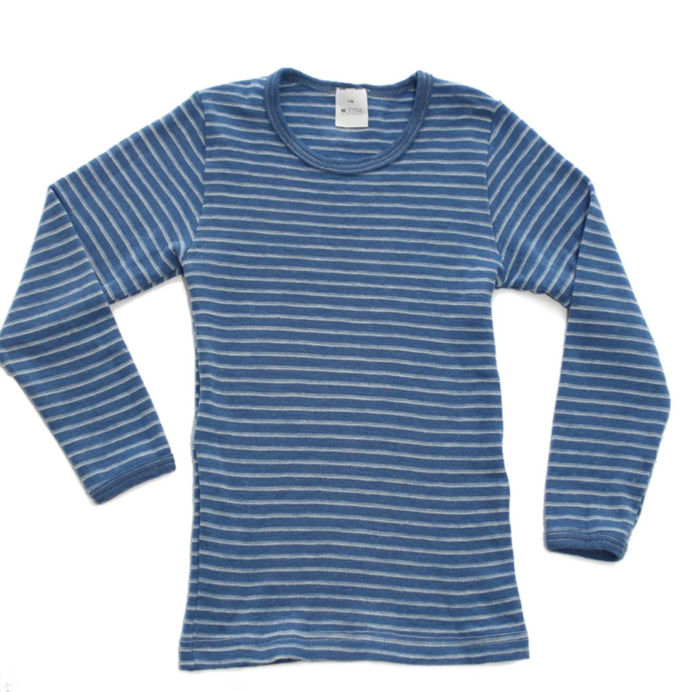 Hocosa of Switzerland Big Boys Organic Wool Long-Sleeved Undershirt, Blue/White Stripe, s. 152/12 yr by Hocosa of Switzerland