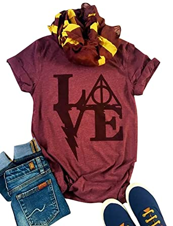 09c18cc7b Harry Potter T Shirts Women's Love Letter Graphic Tees Casual O-Neck Funny  Tops (