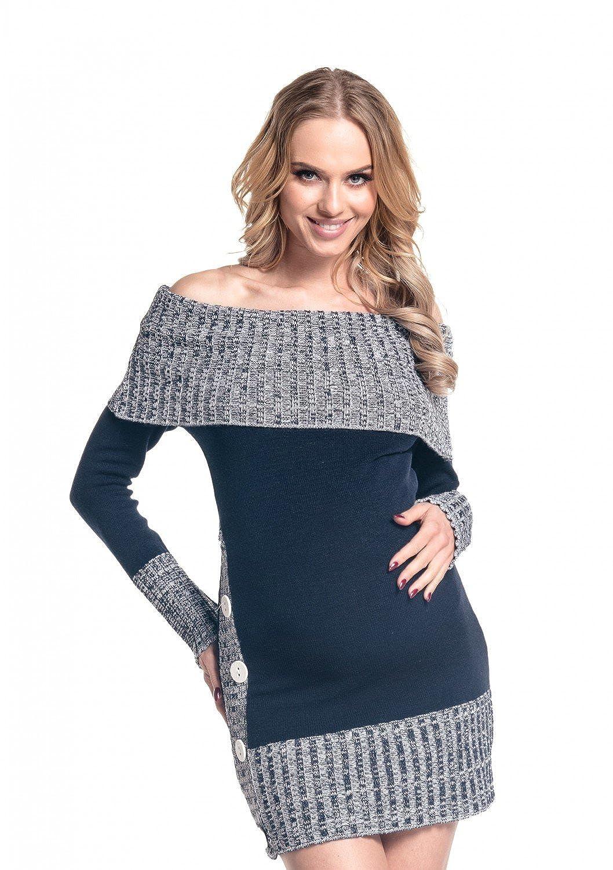 Happy Mama Women's Maternity Bardot Knitted Jumper Dress Pullover Sweater. 913p 10/14) 913_MAT_1
