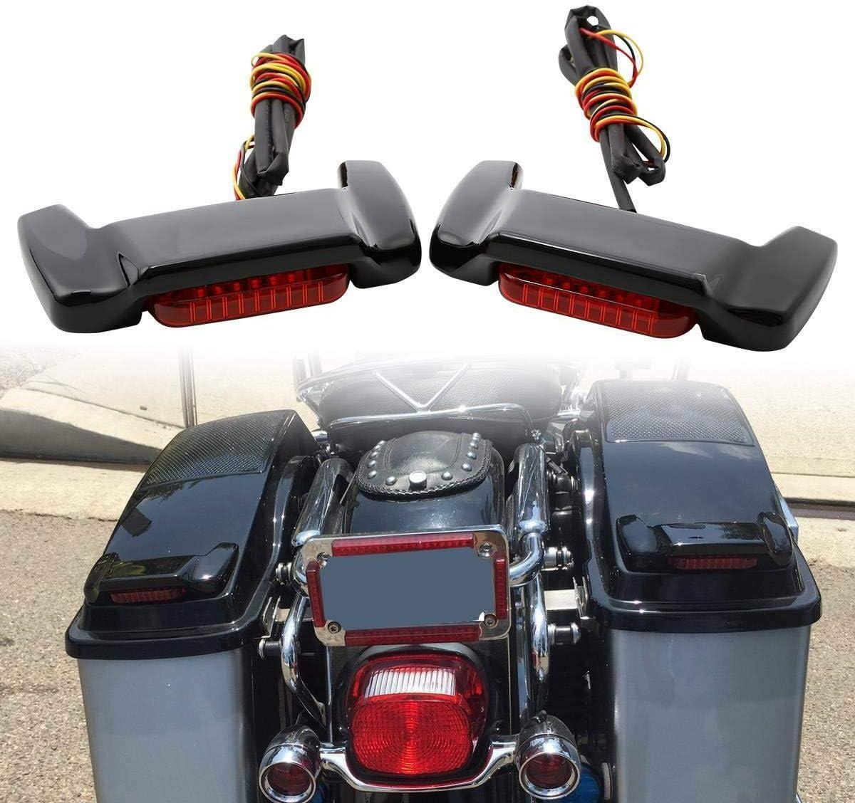 TCT-MT Hard Saddlebag Lid LED Spoiler Saddle Bag Fit For Harley Touring Electra Road King Glide 1993-2013 Ultra Classic FLHTCU CVO Ultra FLHTC FLHTK Anniversary FLHTCUSE8