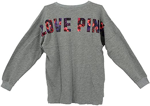 Victoria's Secret PINK Lace-Up Varsity Crew sweatshirt, Gray ...