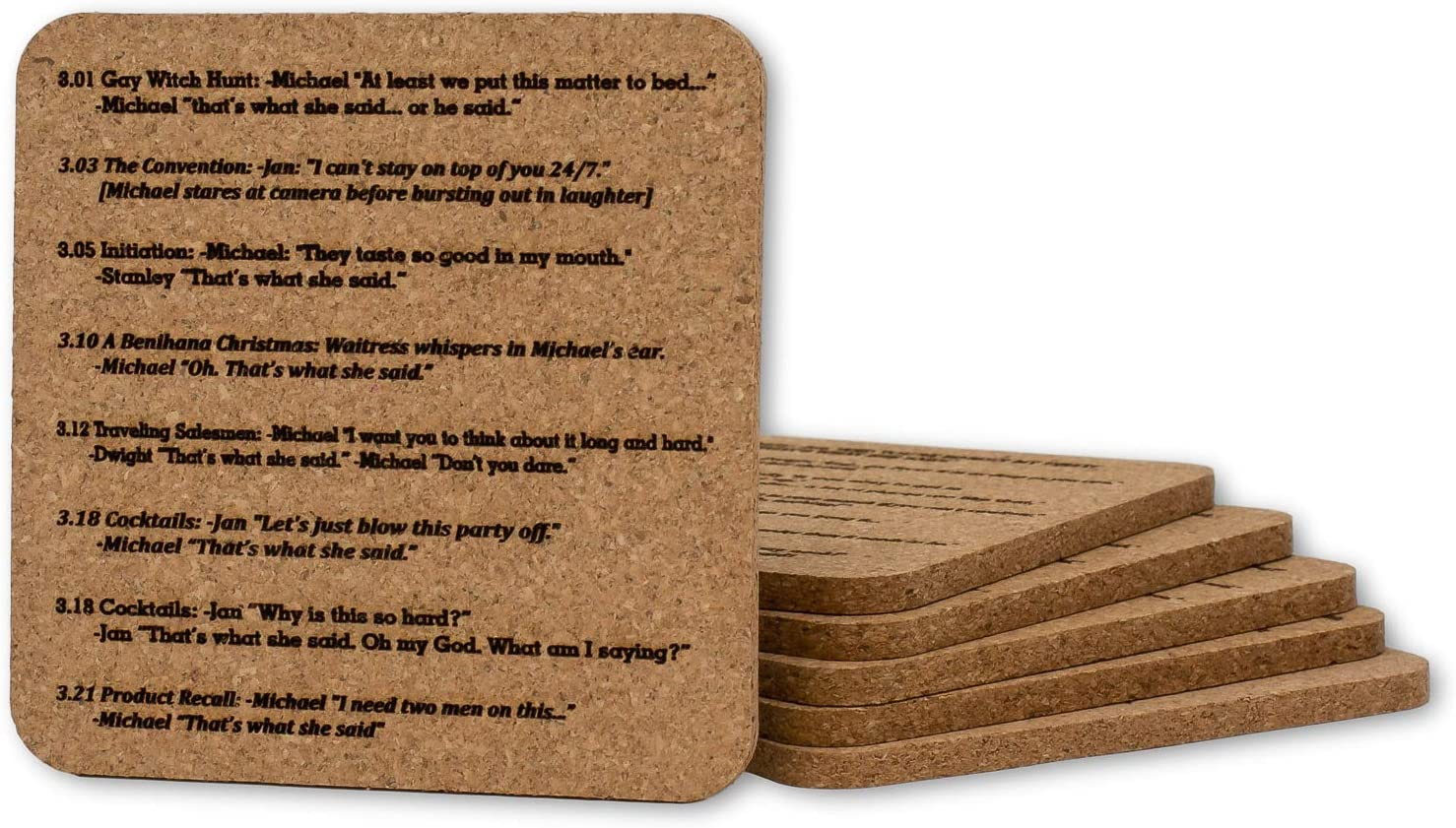 That's What She Said Coasters, Quote from Every Epidsode from The Office TV Show, Natural Cork Set of 6 (Standard Cork)