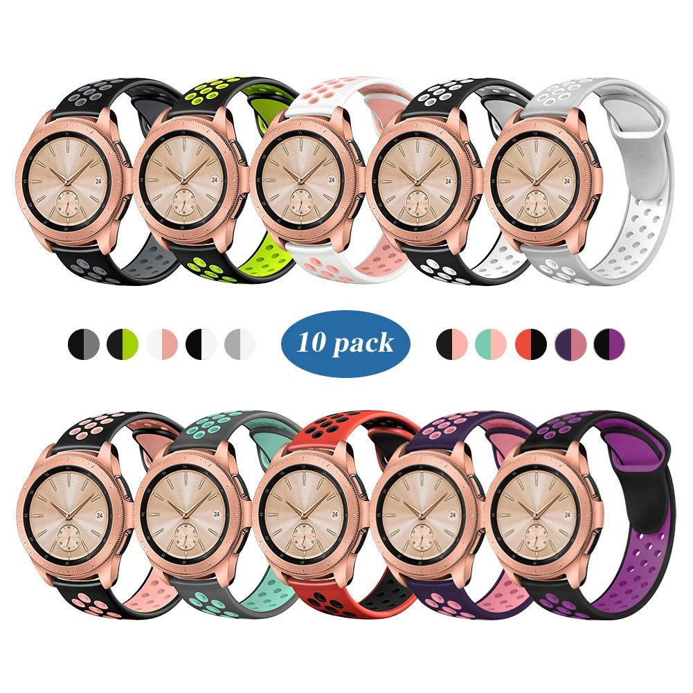 Compatible for Samsung Galaxy Watch 42mm Band/Galaxy Watch Active 40mm Bands,YiJYi 20mm Silicone Strap Sports Replacement Wristband Women Men for Samsung Galaxy Watch (Small(5.5''-7.1''), 10 Pack)