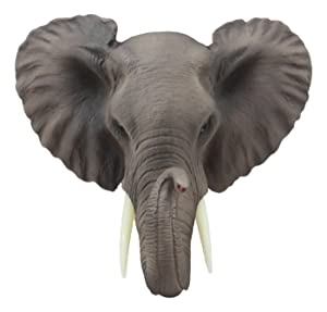 "Ebros Safari African Bush Elephant Wall Bust Sculpture 9"" Tall Majestic Noble Elephant Head Hanging Wall Decor Figurine for Wild Animal Lovers"