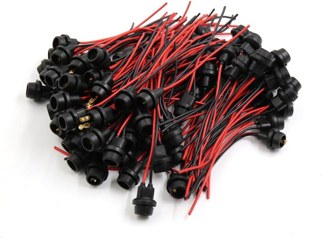 sourcingmap 100 pz Rosso Nero T10 presa della lampada sostegno connettore cablaggio per auto