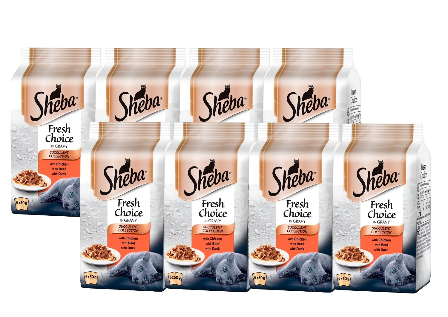 Sheba Fresh Choice Estuches de Gato Collection, 6 x 50 G - Paquete de 8 (Total 48 Bolsas): Amazon.es: Productos para mascotas
