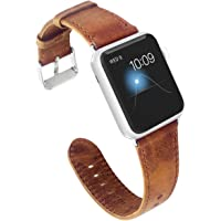KADES Genuine Leather Apple Watch Band with Retro Crazy Horse Texture