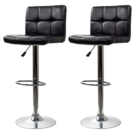 Astonishing Display4Top Height Adjustable Modern Swivel Square Bar Stools With Comfy Back Rest Faux Leather Hydraulic Kitchen Chairs Set Of 2 Black Machost Co Dining Chair Design Ideas Machostcouk