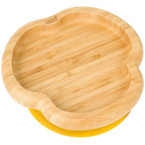 Stay Put Feeding Plate Baby Toddler Monkey Suction Plate Yellow Natural Bamboo