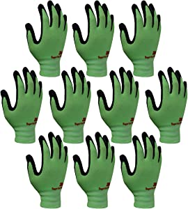 3M Super Grip 200 All Day Comfort Nitrile Foam Coated Work Gloves -10 Pairs (Large, Green)