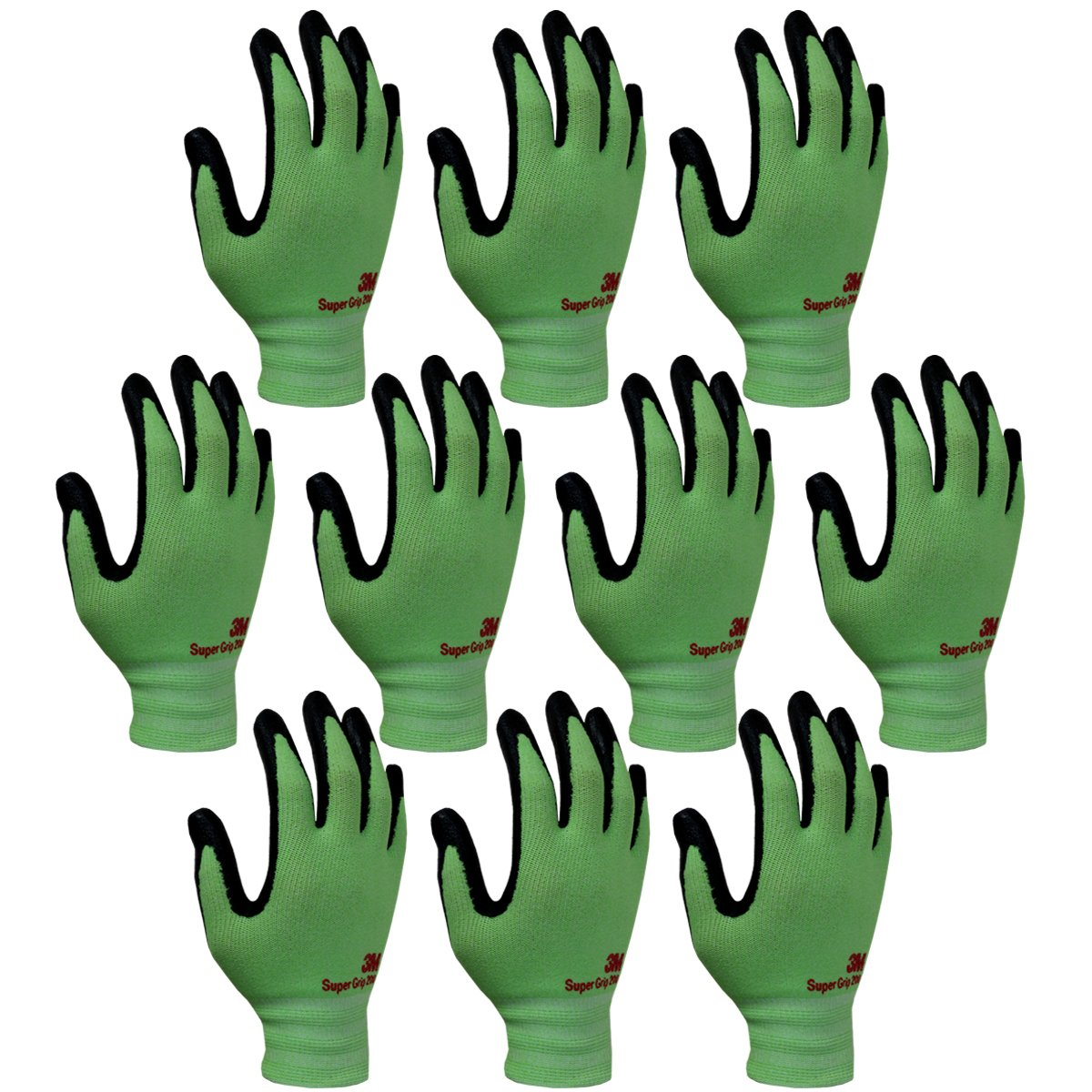 3M Super Grip 200 All Day Comfort Nitrile Foam Coated Work Gloves -10 Pairs (Medium, Green)