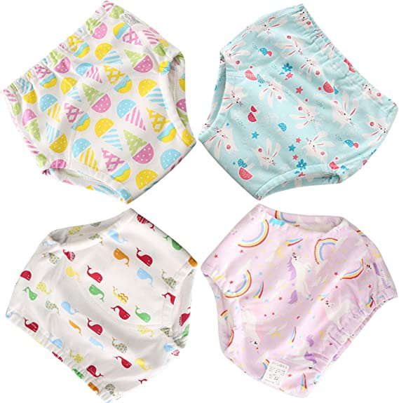 Evelin LEE 4 Pack Toddler Baby Cartoon Training Pants Soft Reusable Underwear Briefs for Boys Girls