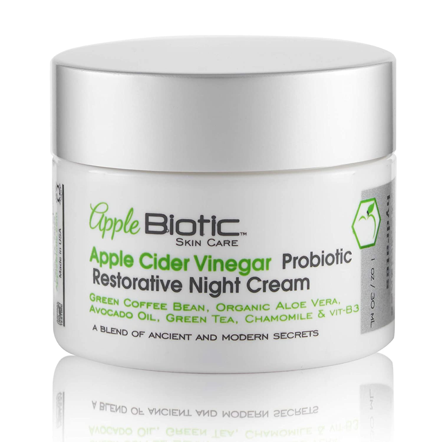 Apple Cider Vinegar Probiotic Restorative Night Cream with African Green Coffee Extract, Vitamin B3, Green Tea and Chamomile Extract to restore skin overnight.