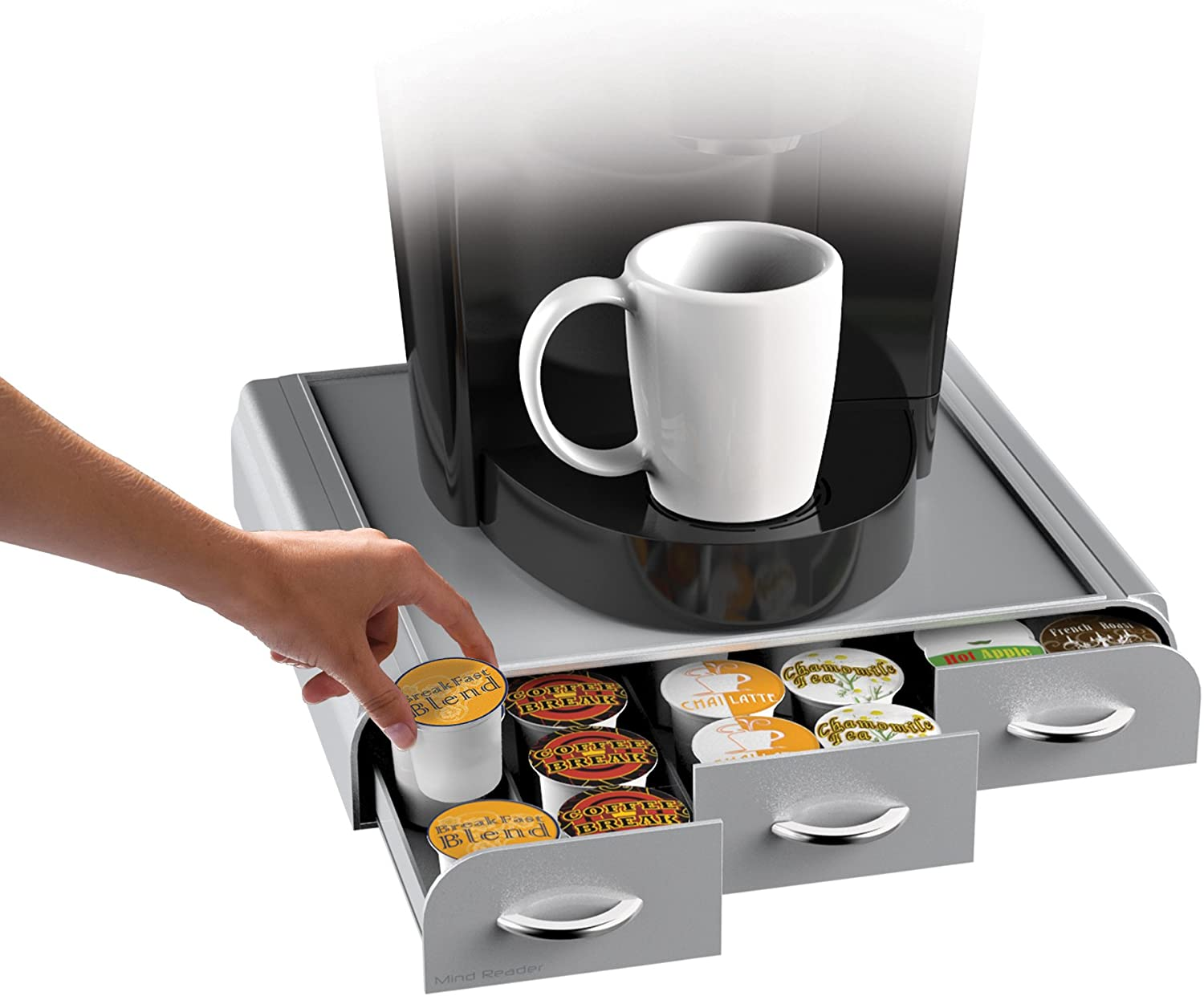 Mind Reader 36 Capacity K-Cup, Dolce Gusto, CBTL, Verismo, Single Serve Coffee Pod Holder Drawer, Red Silver
