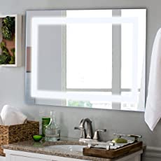 TANGKULA LED Bathroom Mirror Wall Mounted Makeup Vanity Mirror Led Light  Illuminated Lightning Bath Rectangle