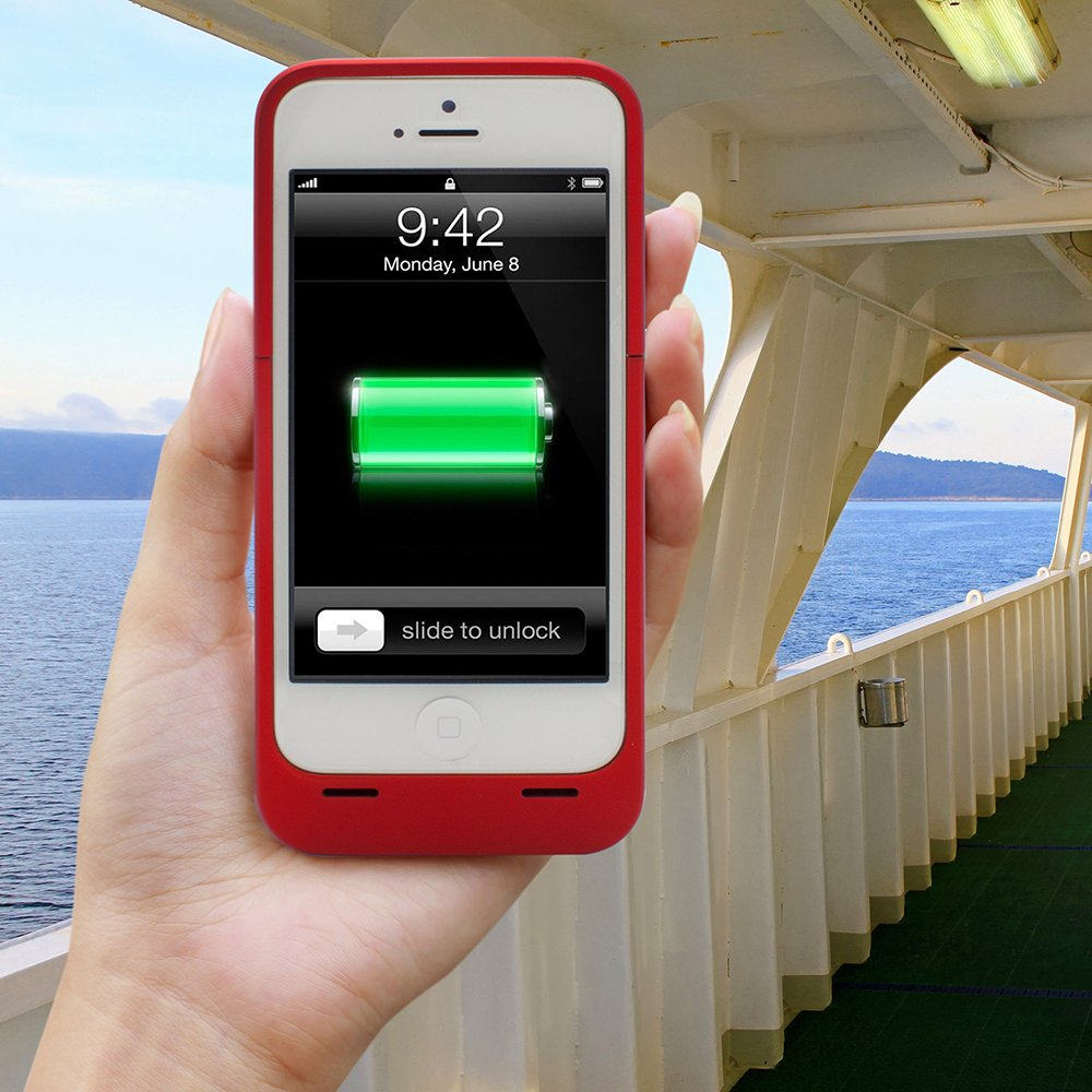 iPhone 5S Battery Case, Lenmar Meridian 2300 mAh MFI Approved [Slim] [Extended Battery Charger] [100% Additional Battery Life], Red by Lenmar (Image #3)