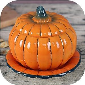 1PCS 6 Inch Exquisite Beautiful Ceramic Pumpkin Slow Cooker Dessert Nest Bowl Oven Cover,Orange,6 Inch