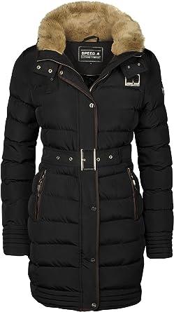 Nuevo Mujer Acolchado Capucha Abrigo de Invierno Forrado Chaqueta Cuello de Piel Largo Parka cálido