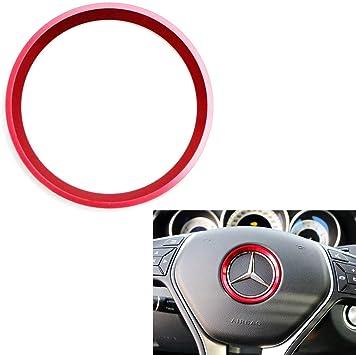 Duoles Sports Aluminum Steering Wheel Center Decoration Cover Trim for Mercedes B C E CLA GLA GLC GLK Class Blue, 2 Inner Ring Size etc