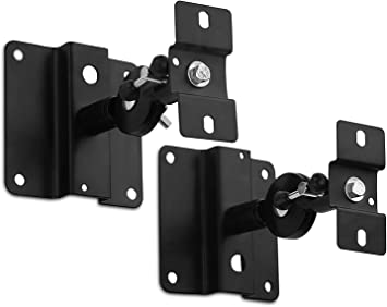 Mount-It 5 Pieces Universal Speaker Mounts//Brackets for Walls /& Ceilings Black