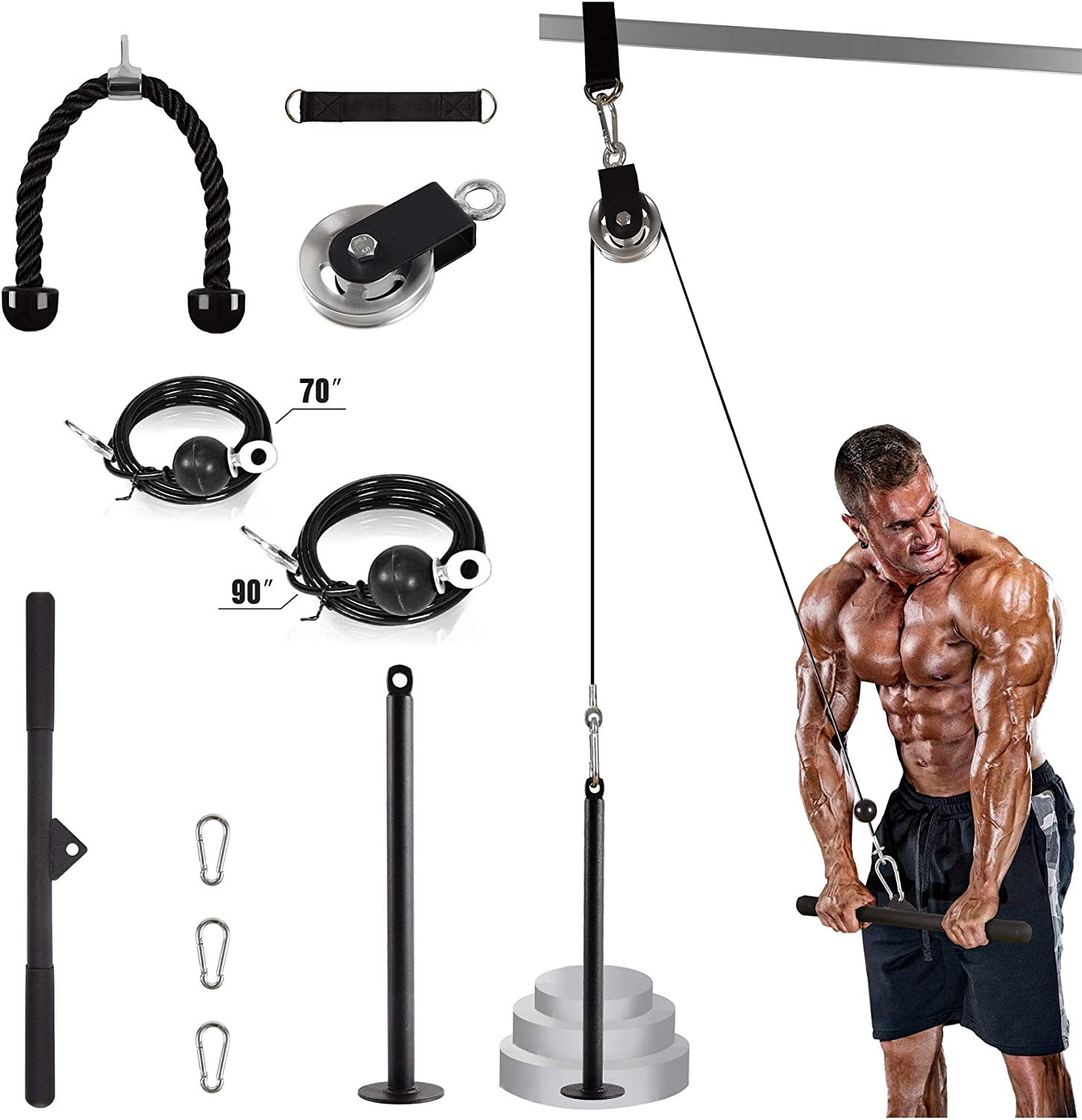 Home Gym Fitness Biceps Triceps DIY Loading Pin Lifting Rope Machine Workout US
