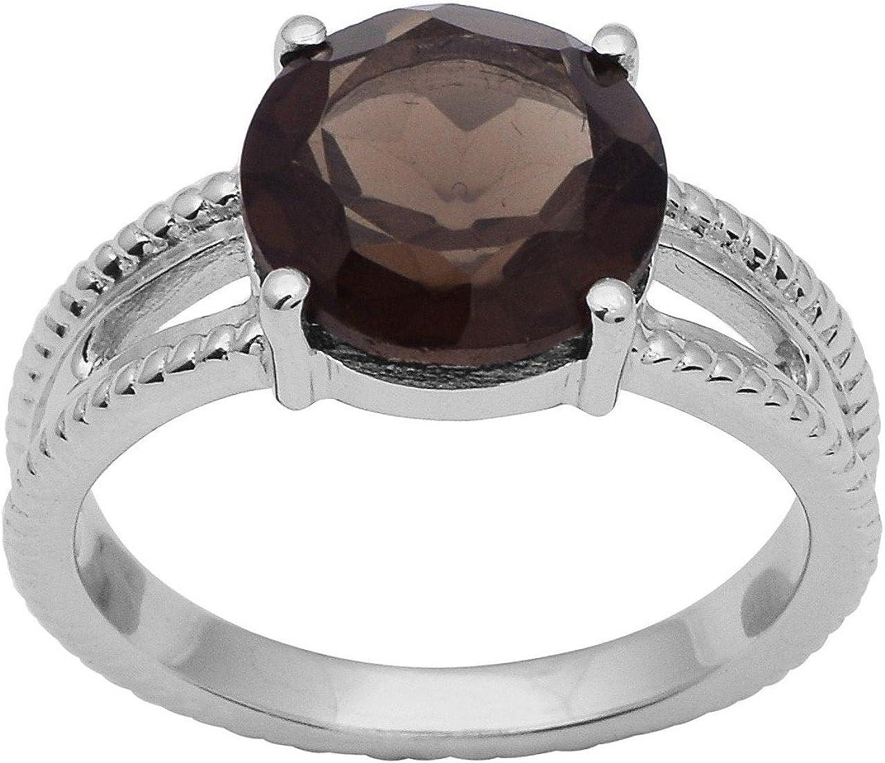 Shine Jewel Solitario de plata de ley 925 con piedras preciosas ahumadas de rodio blanco y anillo para mujer