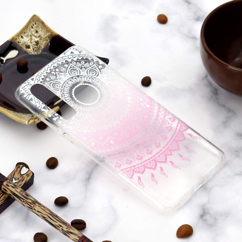 HopMore 3X Coques Coque pour Huawei P30 Transparente Motif Mandala Fleur Silicone Souple Antichoc Ultra Mince Fine Case /Étui Housse Protection pour Fille Femme Motif B