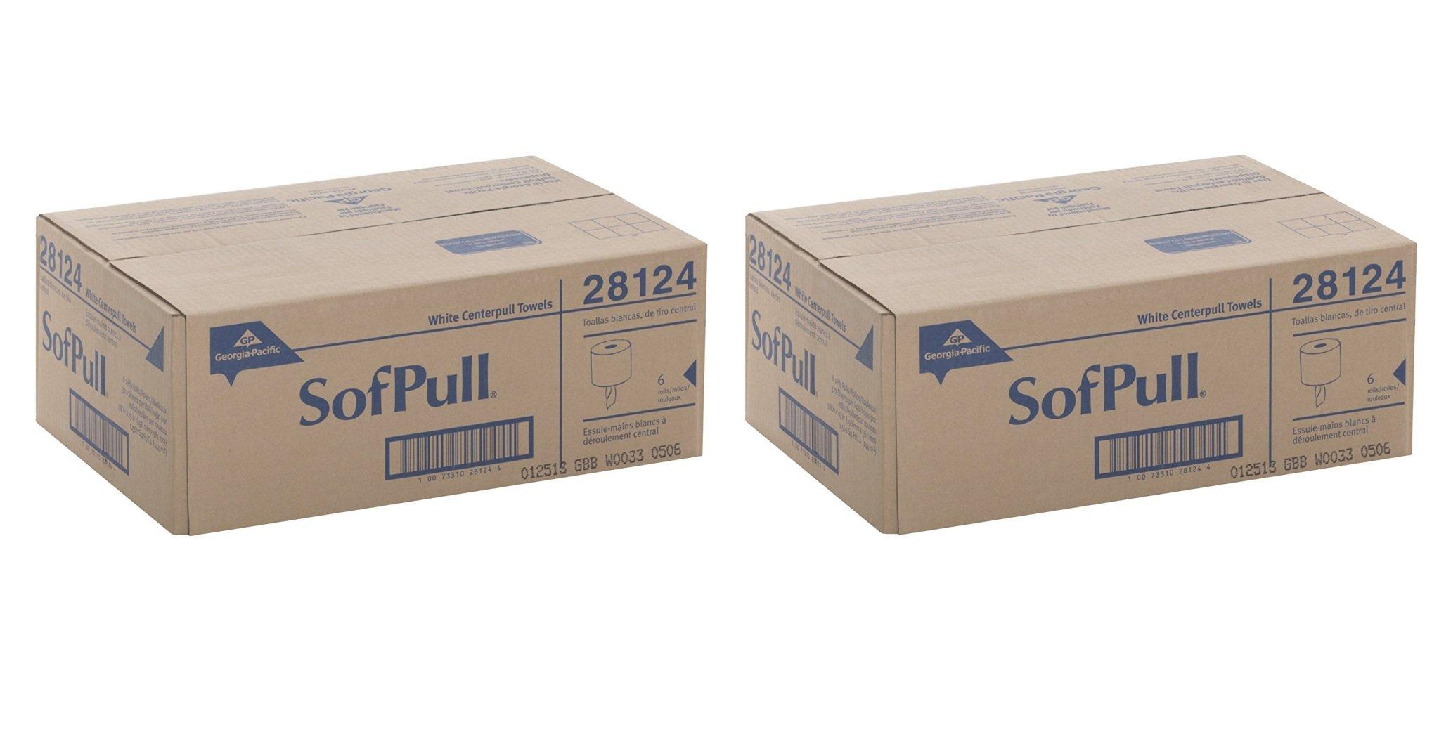 Georgia-Pacific SofPull 28124 White xJArhA Premium 1-Ply Regular Capacity Centerpull Paper Towel, 2Pack (6 Rolls)