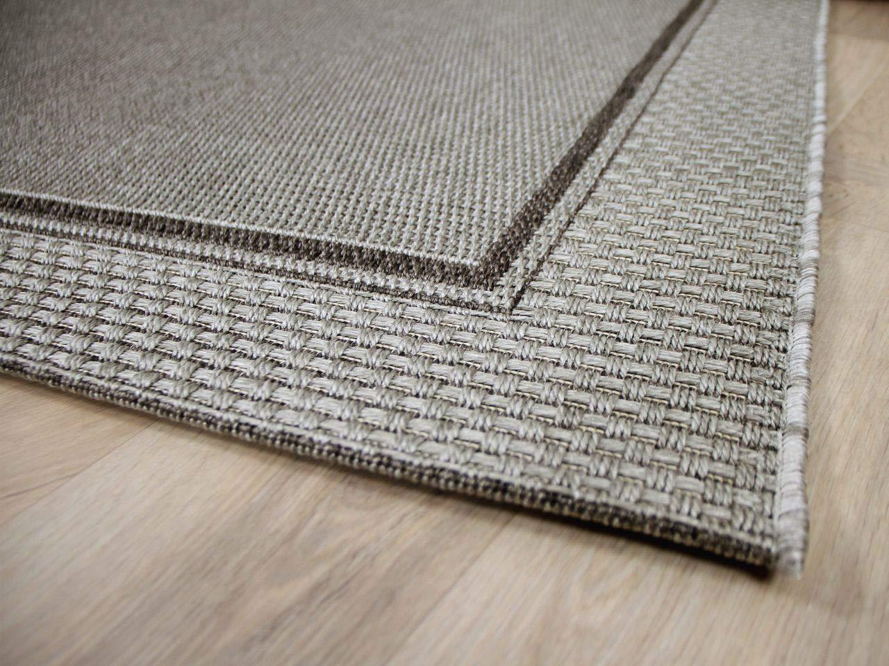 In & Outdoor Teppich Flachgewebe Natur Panama Grau Bordüre in 4 Größen