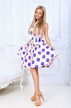 syt Dress Vintage-sukienka letnia sukienka bez rękawÓw o-Neck kobiety eleganckie suknie miejsca ucisku Wystrzałowe Sweet żeński, xl: Sport & Freizeit
