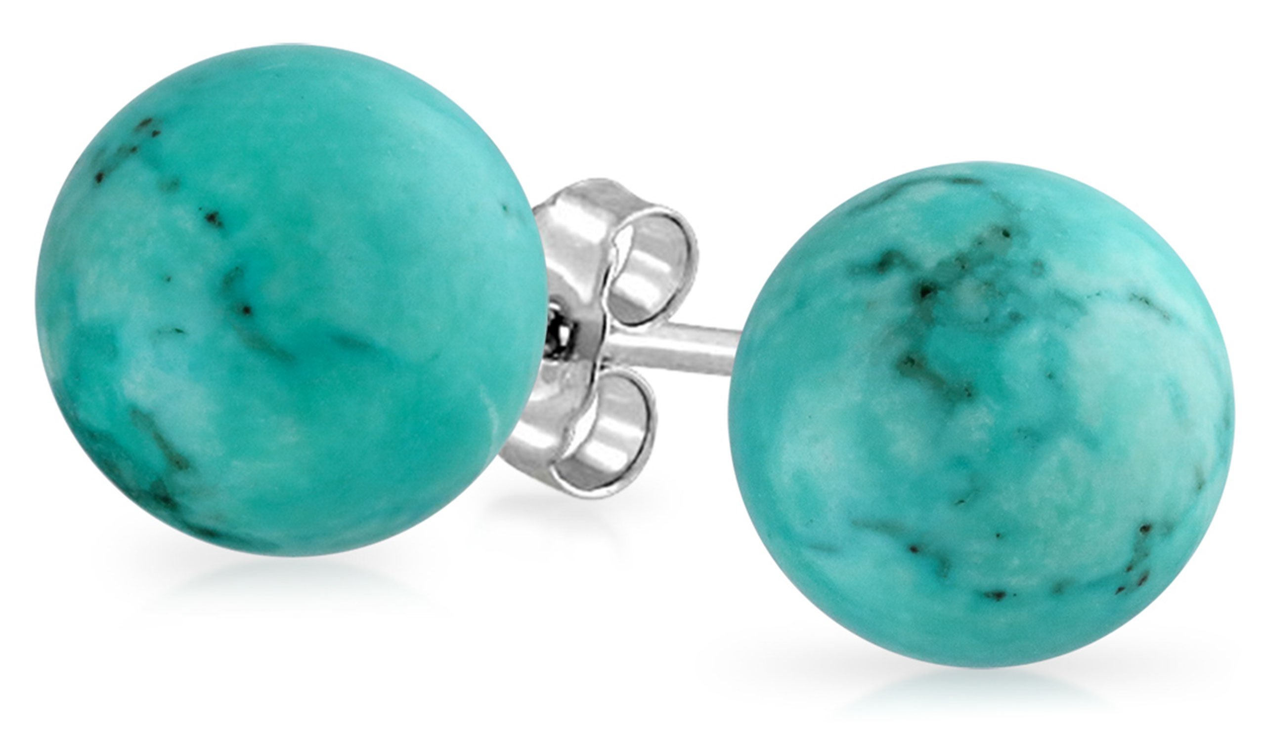 Reconstituted Turquoise Sterling Silver Ball Stud Earrings 8mm