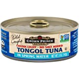 Crown Prince Natural Chunk Light Tongol Tuna in Spring Water, No Salt Added, 5 Ounce Cans (Pack of 12)