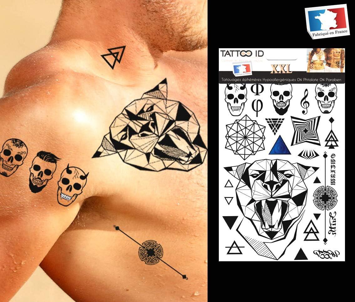 Tatuaje eferemere temporal Hombre Jaguar Tribal Maorí Geométrico ...