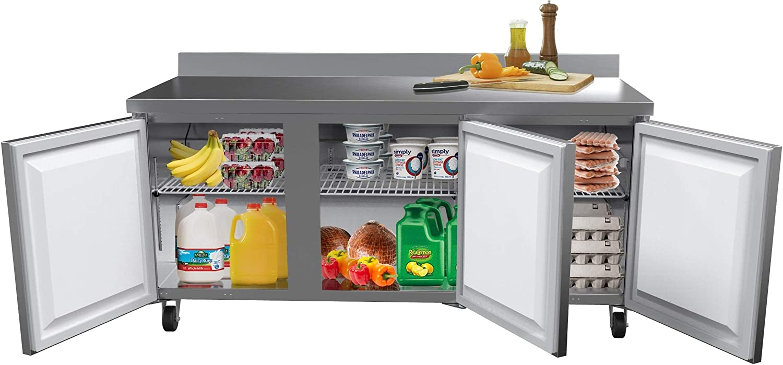 "KoolMore 72"" Stainless Steel 3 Door Worktop Commercial Refrigerator with 3 1/2 Backsplash - 16.9 cu.ft"