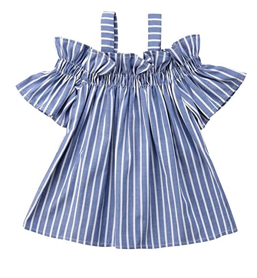 b9a526b2bc7 Toddler Newborn Baby Girl Off Shoulder Strap Blue Stripe Dresses Summer  Clothes Outfits (2-