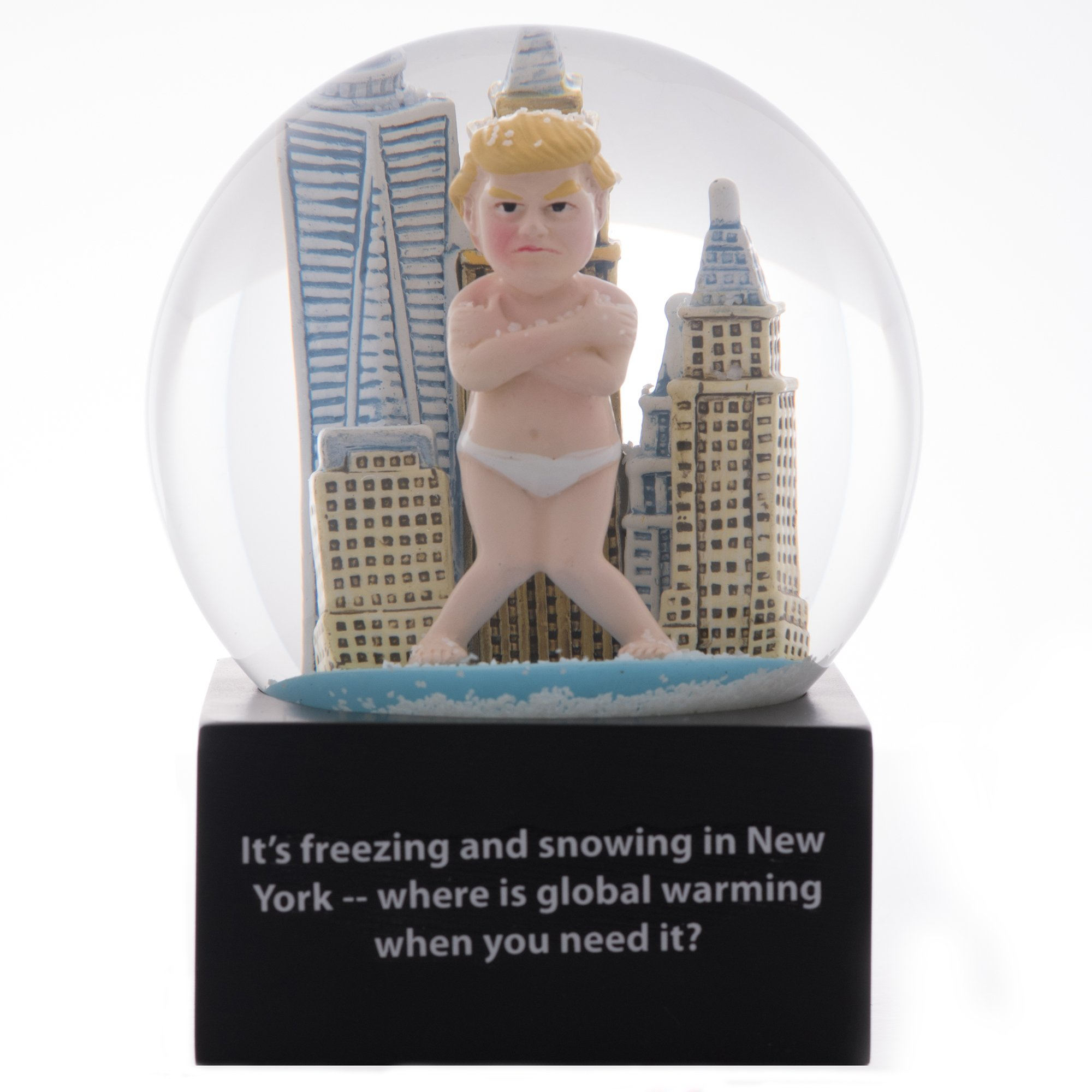 Funny Donald Trump Snowglobe with Original Global Warming Tweet | Perfect Gag Gift for Birthdays! | Hand Painted | New York Background | Guaranteed Laugh