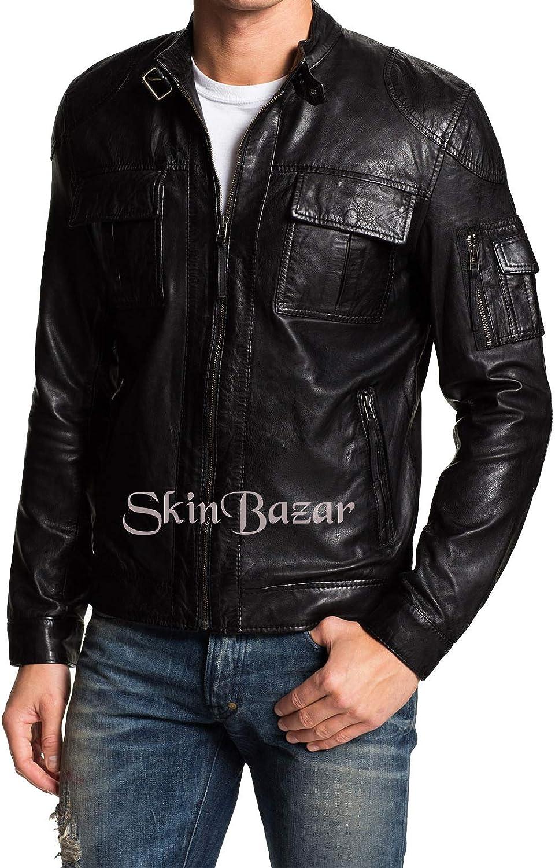 Mens Stylish Motorcycle Biker Genuine Lambskin Leather Jacket 104