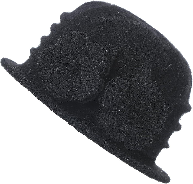 DANTIYA Womens Winter Warm Wool Cloche Bucket Hat Slouch Wrinkled Beanie Cap with Flower