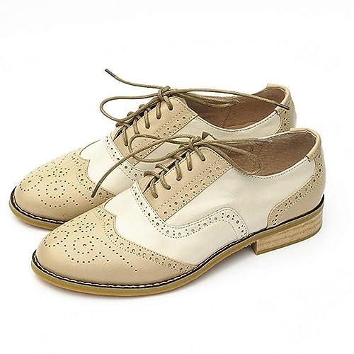 5b74e250430e6 Handmade Genuine Leather Shoes Oxford Shoes for Women Beige: Amazon ...