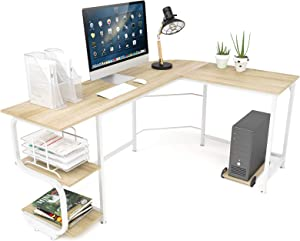 Teraves Reversible L Shaped Desk with Shelves Round Corner Computer Desk Gaming Table Workstation for Home Office