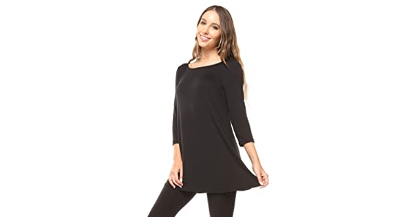 b9d416c9cec Free to Live Women's Flowy Elbow Sleeve Jersey Tunic Blouse Top Made in USA  (Medium, Black)