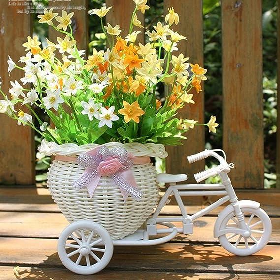 Mimbre Hecho A Mano De La Flor De Tres Ruedas Canasta De La Bicicleta Para La Decoración De Almacenamiento Florero - Rosa Blanca: Amazon.es: Hogar