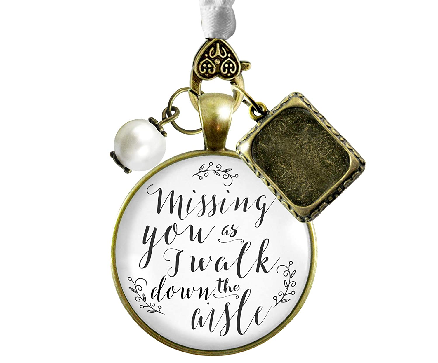 Bouquet Wedding Charm Missing You As I Walk Memorial White Bridal Photo Jewelry