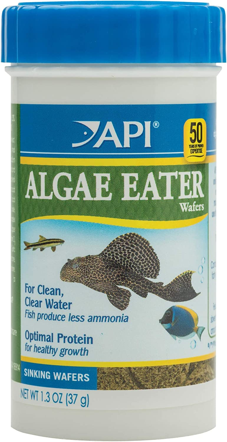 API ALGAE EATER WAFERS, Formulated to help fish more readily use nutrients which means less waste and clean, clear water, Feed twice a day the amount of food your fish will consume within 2 hours