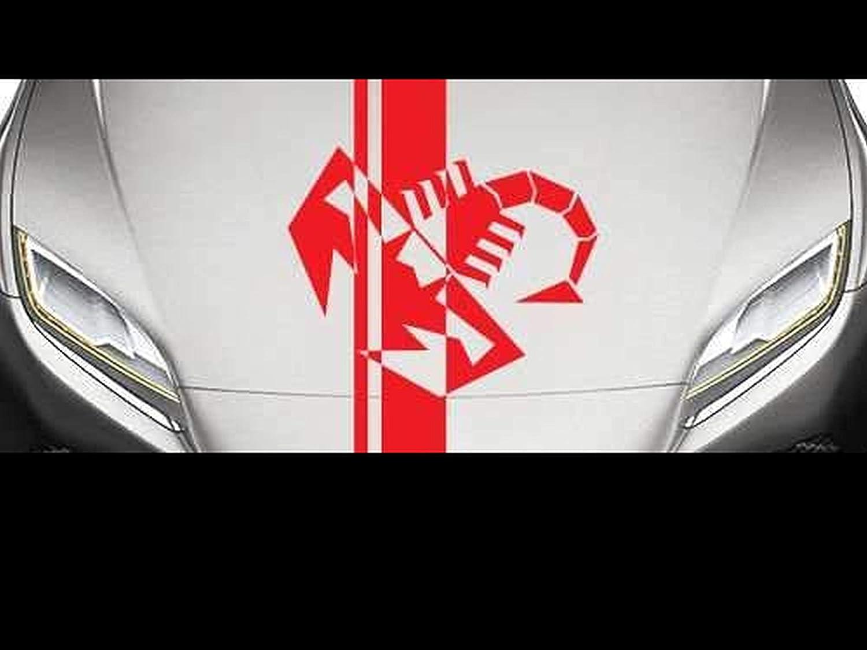 Supersticki Fiat Abarth Streifen Aufkleber Motorhaube Ca 140x30 Cm Aufkleber Sticker Decal Aus Hochleistungsfolie Aufkleber Autoaufkleber Tuningaufkleber Racingaufkleber Rennaufkleber Von Supersti Auto