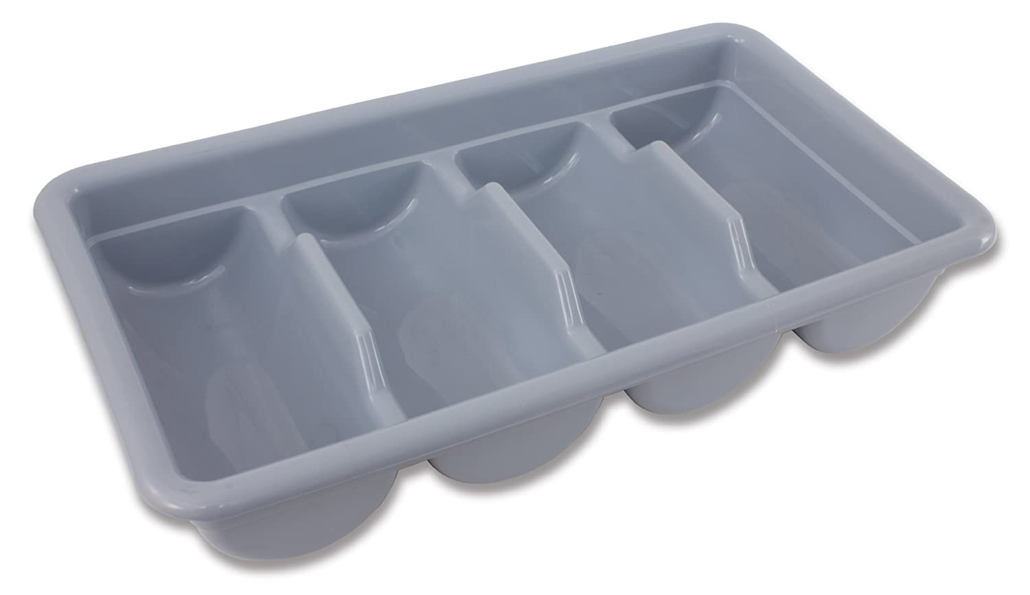 Plastic Construction Crestware 4 Compartment Grey Cutlery Box 17-Inch by 10-1//2 inch by 3-3//4-Inch Stainless Steel Look