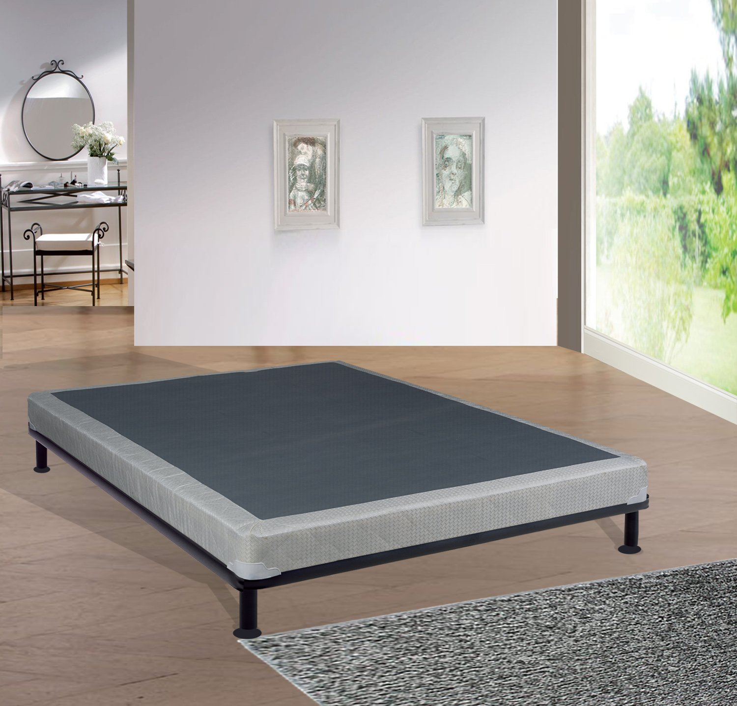 Mattress Solution 4'' Assembled Box Spring for Mattress, Twin, Milano Collection