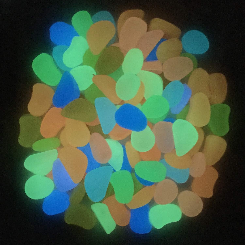 Light-Blue Glow in the Dark pebble Photoluminescent artificial rock Fluorescent cobblestone Noctilucent resin stone for fish tank garden trails decoration 250 g