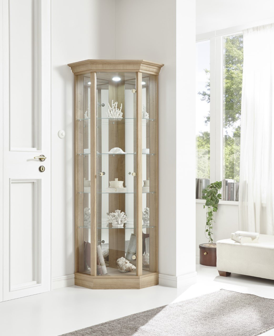 Corner glass cabinet with light cabinets matttroy for Glass cabinet with lights